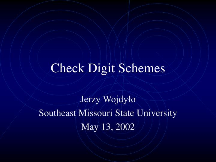 check digit schemes n.