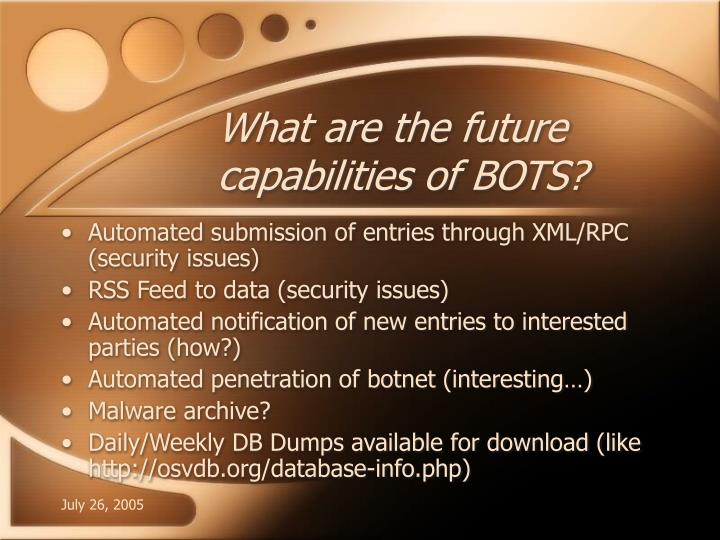 What are the future capabilities of BOTS?