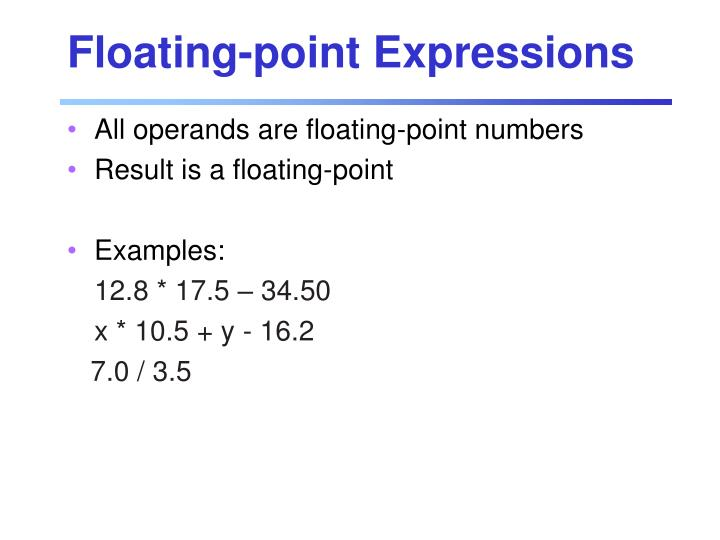 Floating-point Expressions