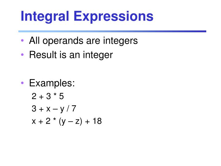 Integral Expressions