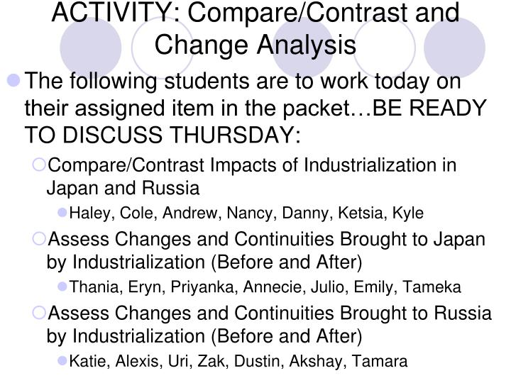 ACTIVITY: Compare/Contrast and Change Analysis
