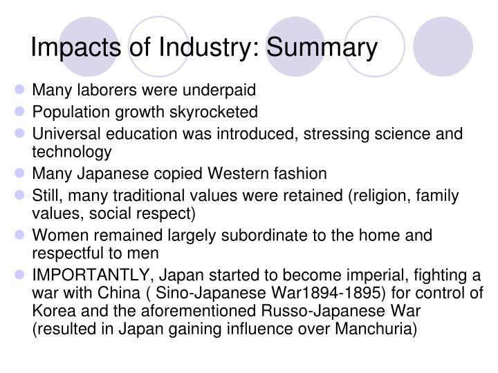 Impacts of Industry: Summary