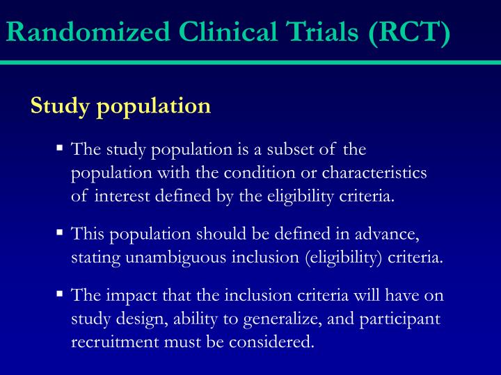 Randomized Clinical Trials (RCT)