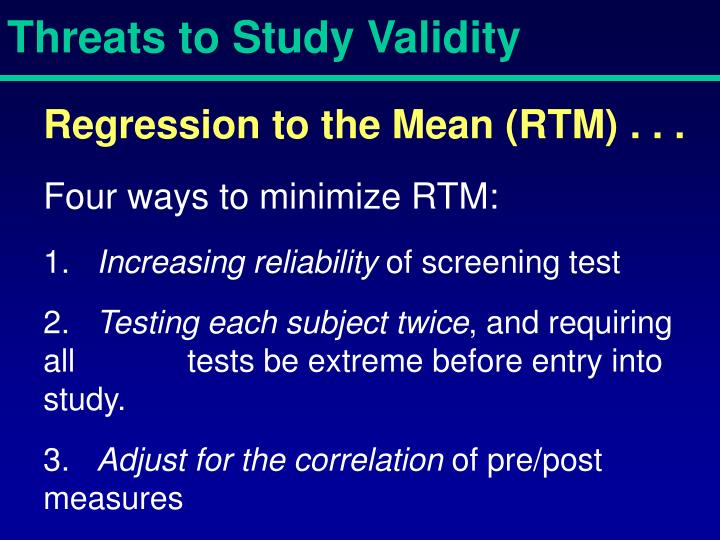 Threats to Study Validity