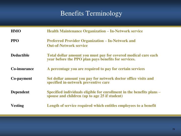 Benefits Terminology
