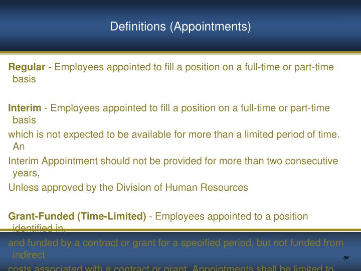 Definitions (Appointments)