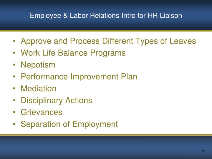 Employee & Labor Relations Intro for HR Liaison