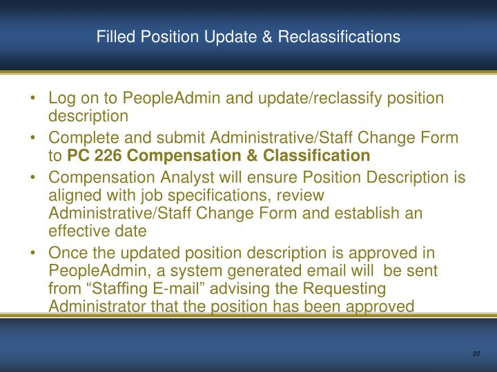Filled Position Update & Reclassifications