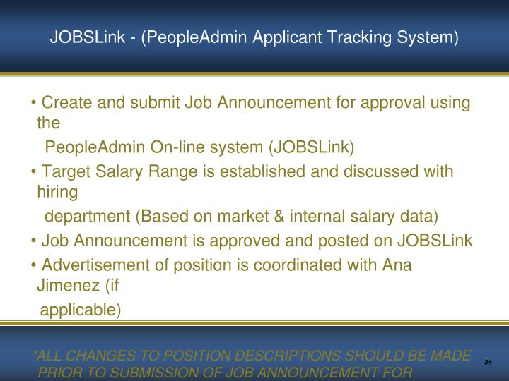 JOBSLink - (PeopleAdmin Applicant Tracking System)