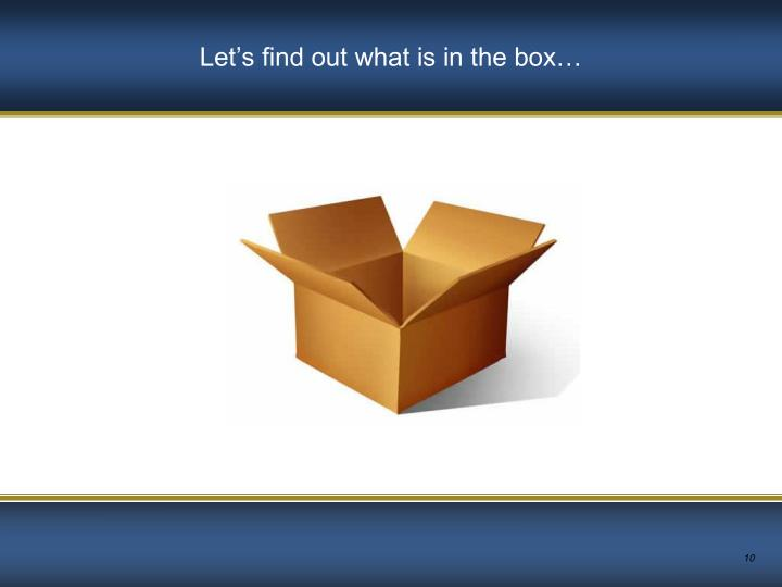 Let's find out what is in the box…