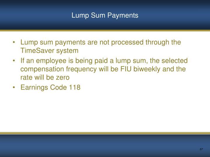 Lump Sum Payments