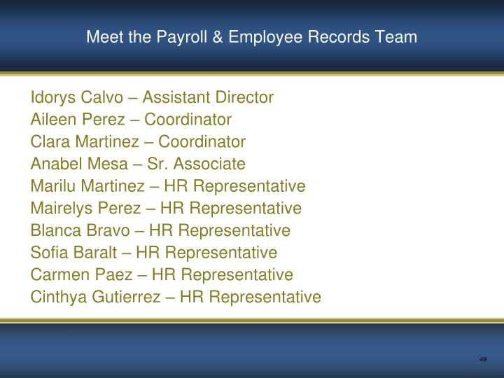 Meet the Payroll & Employee Records Team