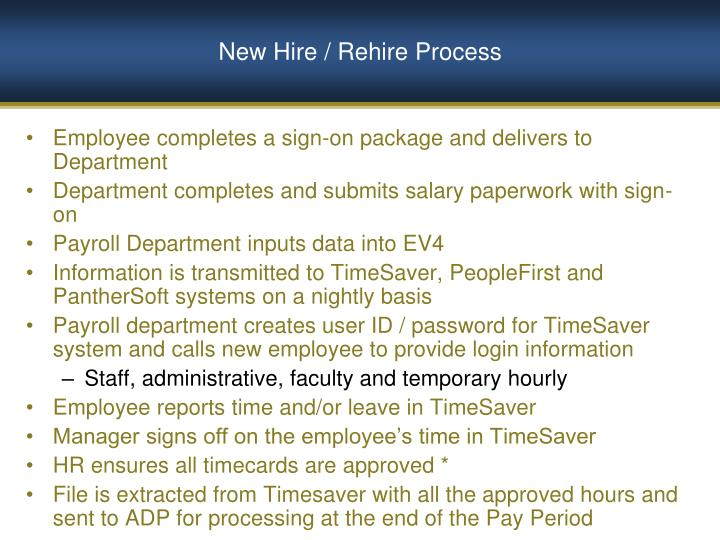 New Hire / Rehire Process