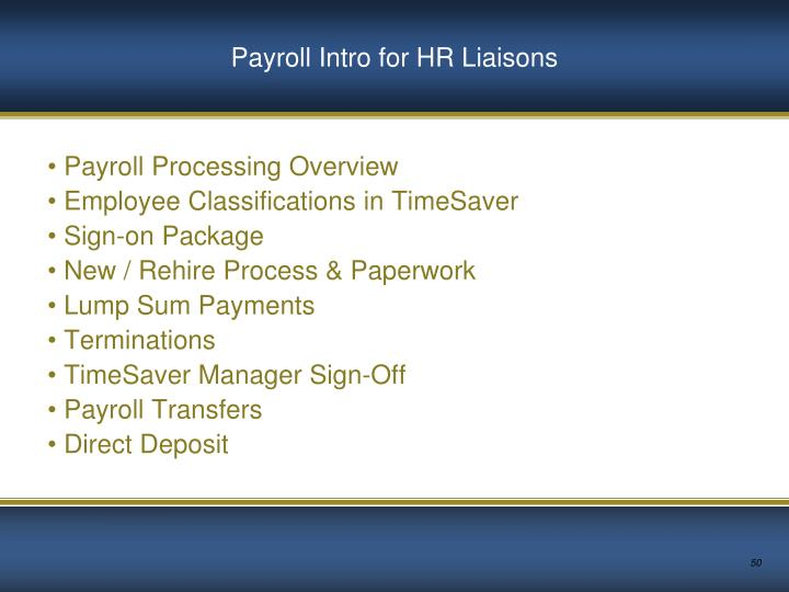 Payroll Intro for HR Liaisons