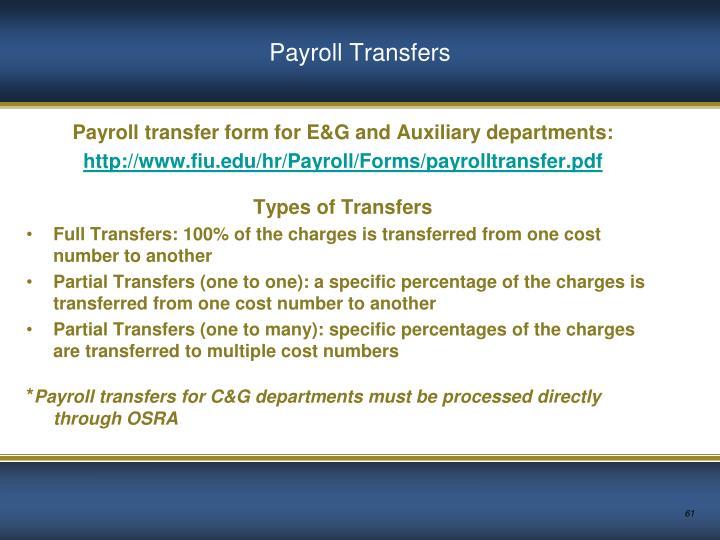 Payroll Transfers