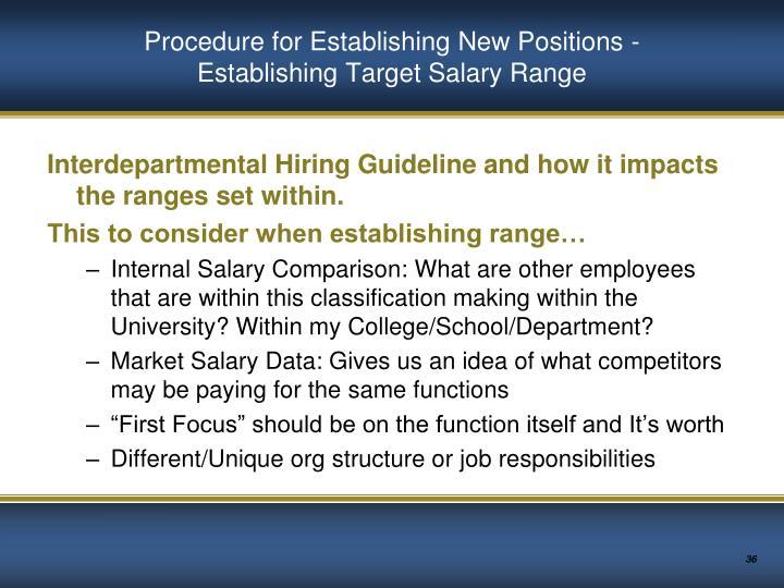 Procedure for Establishing New Positions -