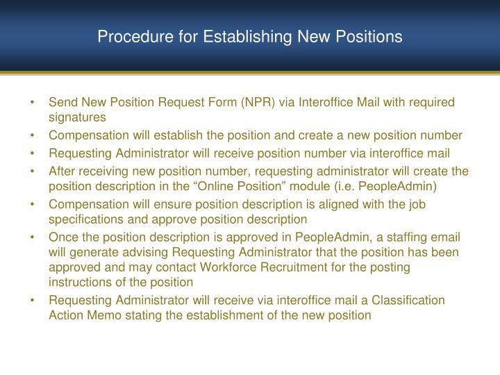 Procedure for Establishing New Positions