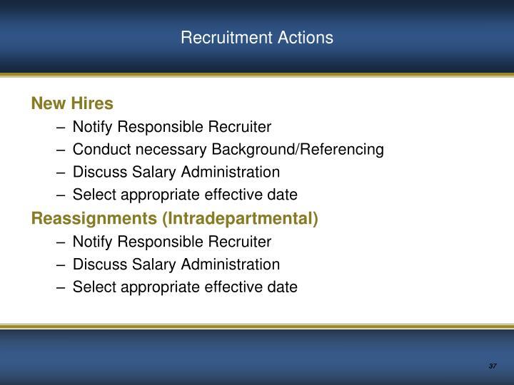 Recruitment Actions