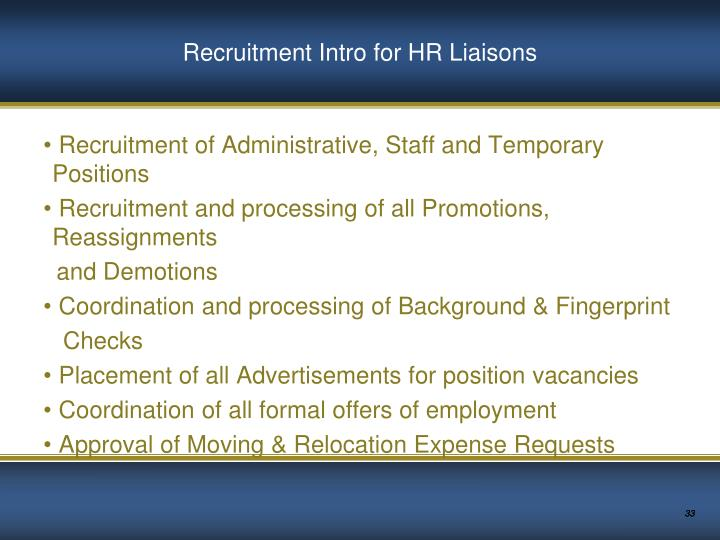Recruitment Intro for HR Liaisons