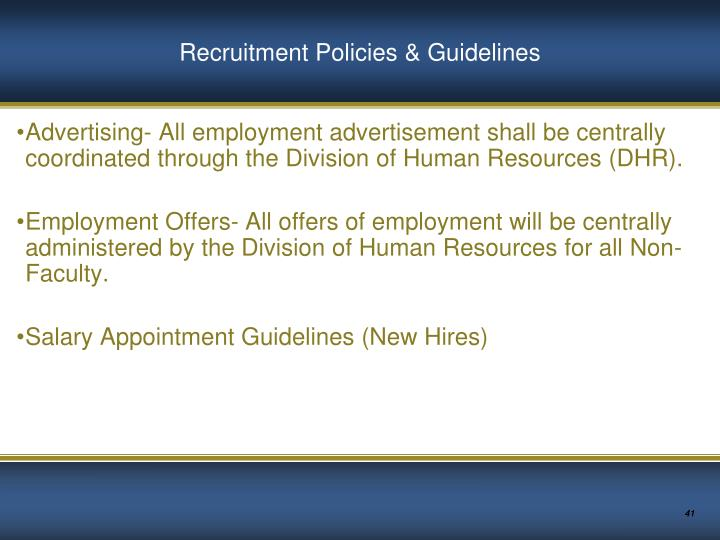 Recruitment Policies & Guidelines
