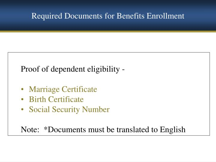 Required Documents for Benefits Enrollment