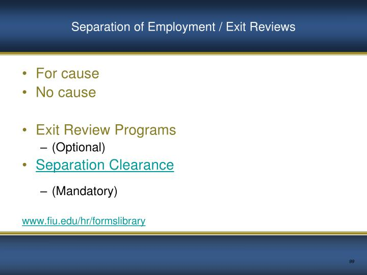 Separation of Employment / Exit Reviews
