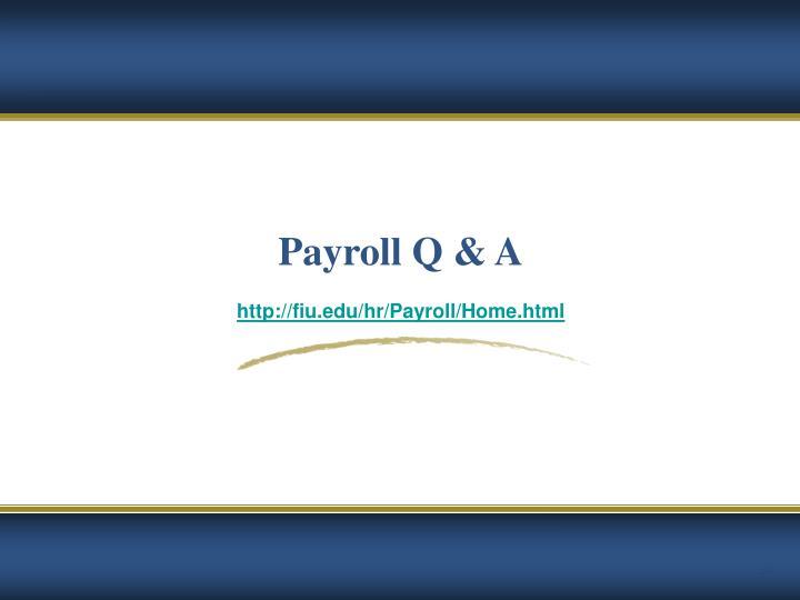 Payroll Q & A