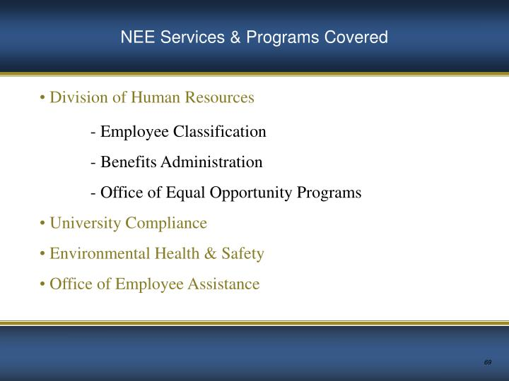 NEE Services & Programs Covered