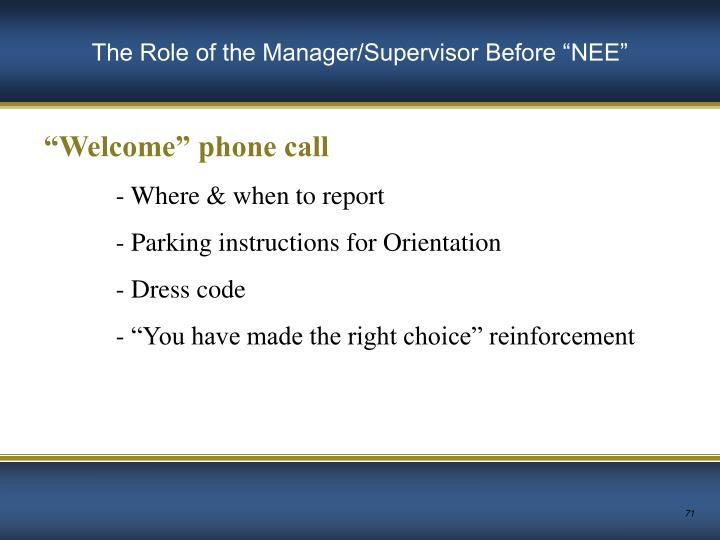 """The Role of the Manager/Supervisor Before """"NEE"""""""