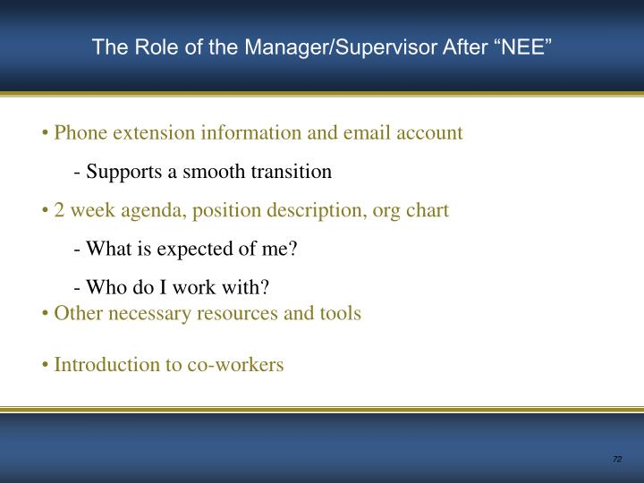 """The Role of the Manager/Supervisor After """"NEE"""""""