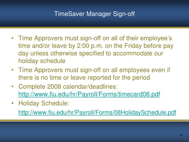 TimeSaver Manager Sign-off