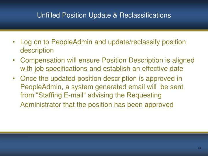 Unfilled Position Update & Reclassifications