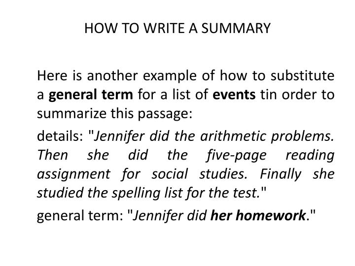 writing a good summary examples
