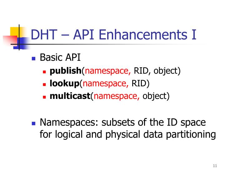 DHT – API Enhancements I
