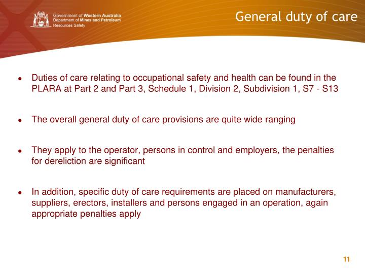 General duty of care