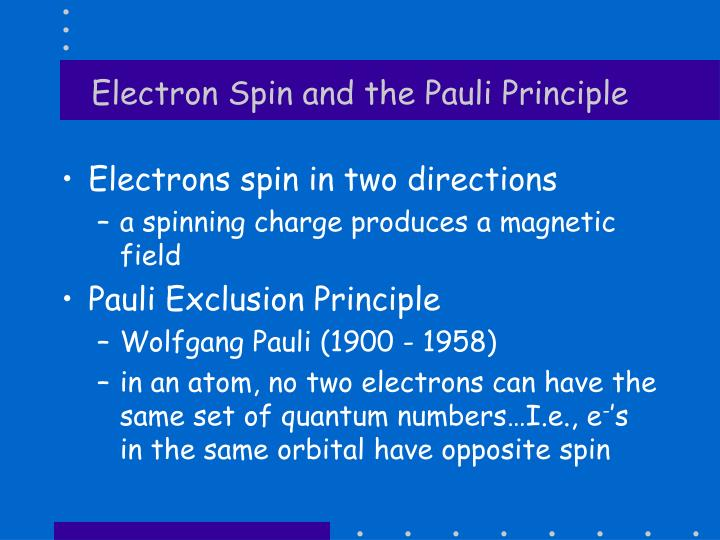 Electron Spin and the Pauli Principle