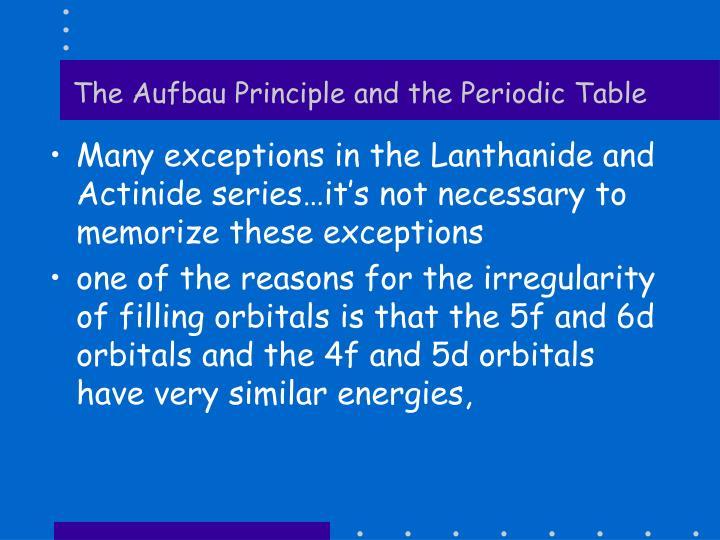 The Aufbau Principle and the Periodic Table