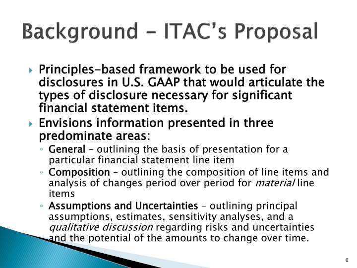 Background - ITAC's Proposal