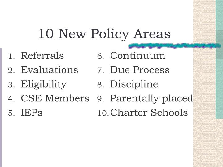 10 new policy areas