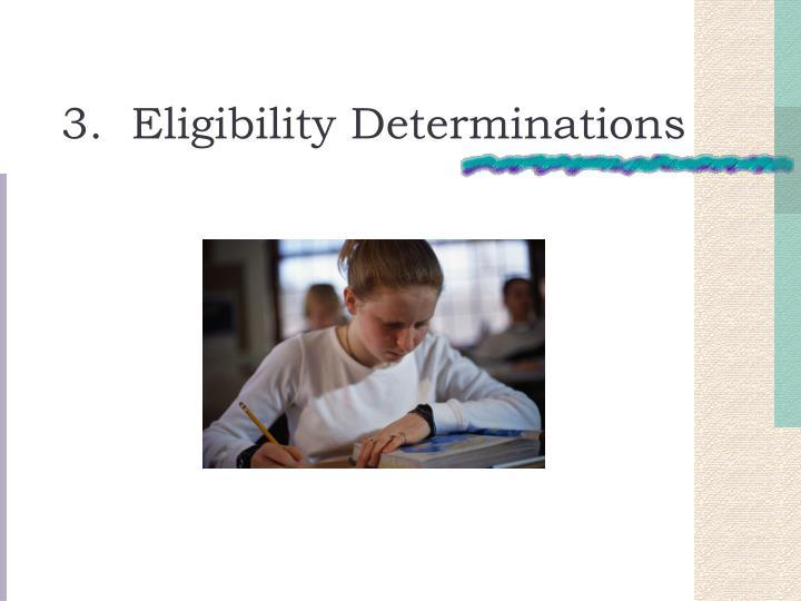 3.  Eligibility Determinations