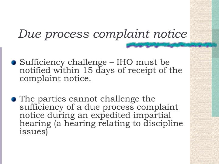 Due process complaint notice