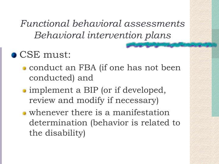 Functional behavioral assessments