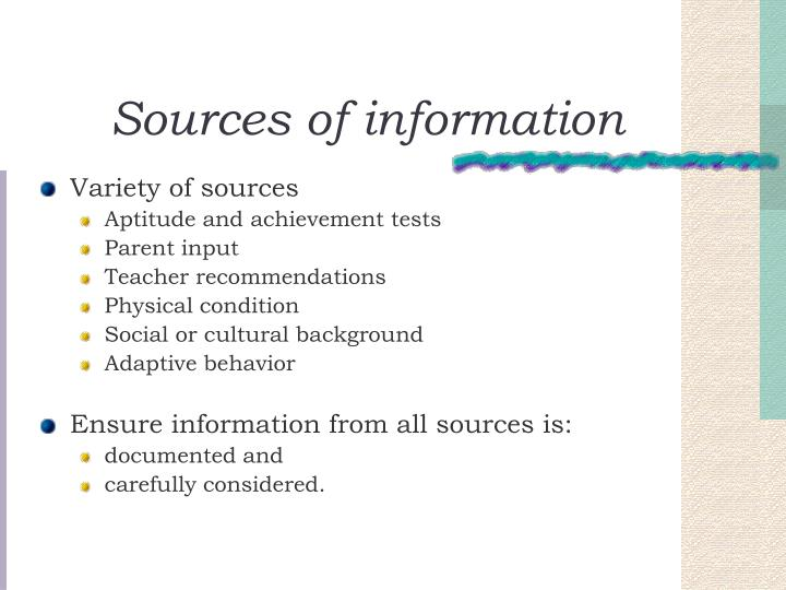 Sources of information