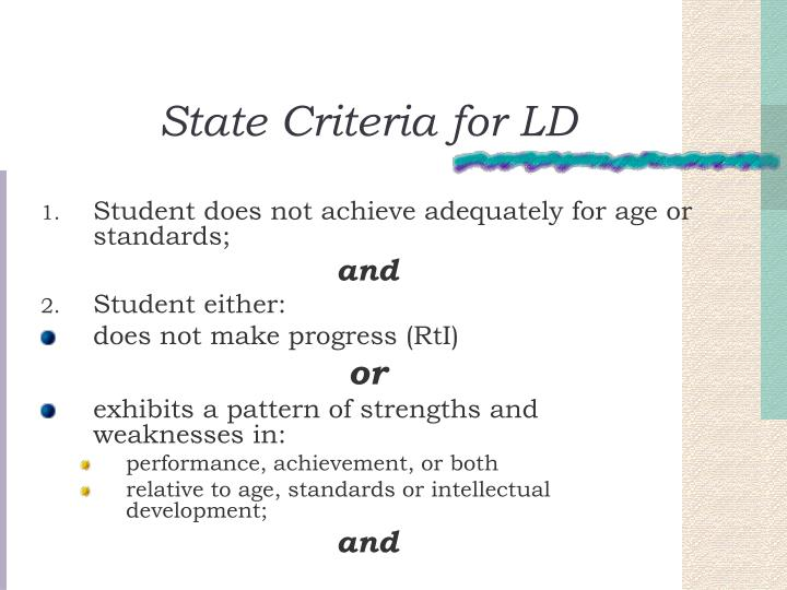 State Criteria for LD