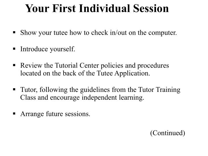 Your First Individual Session