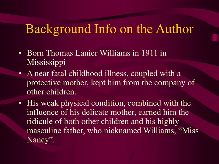 Background info on the author