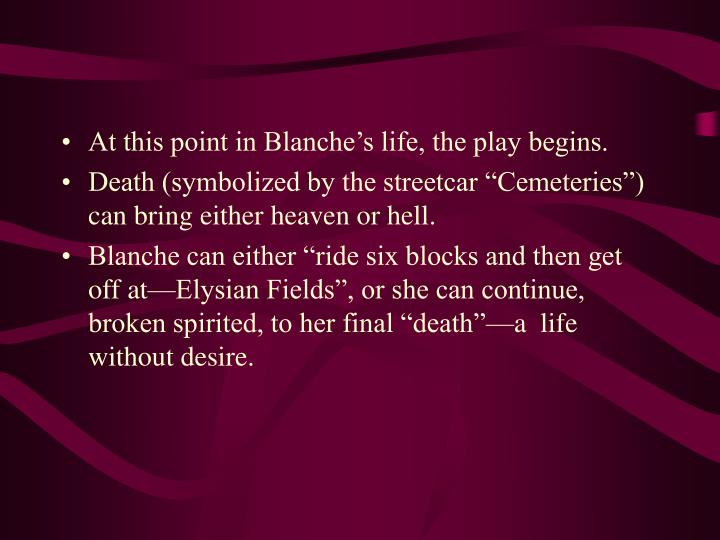 At this point in Blanche's life, the play begins.