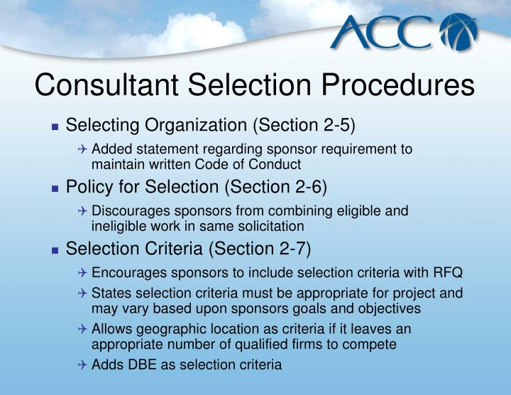 Consultant Selection Procedures