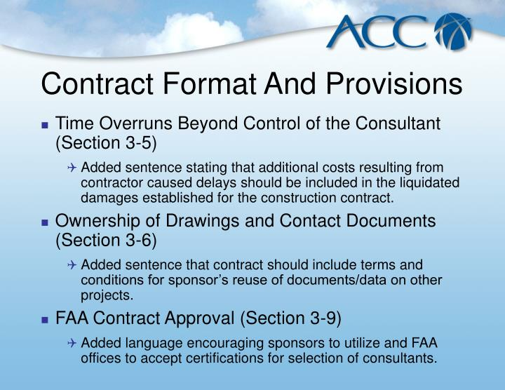 Contract Format And Provisions