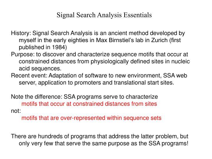 Signal Search Analysis Essentials